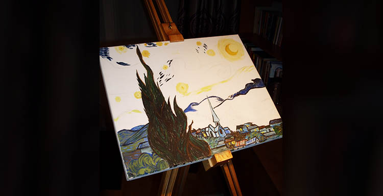 Starry Night Van Gogh SilverWolfPet Mihai Painting How to canvas